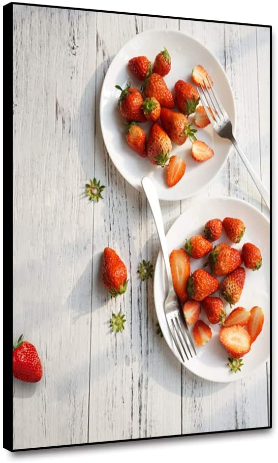 Yongto Red Strawberry Canvas Picture White Plate Fork Fruit Prints Canvas Wall Art Painting Modern Style Decor for Kitchen Cafe Spa Solon Living Room Dining Room Restaurant 8x10 Inch Ready to Hang
