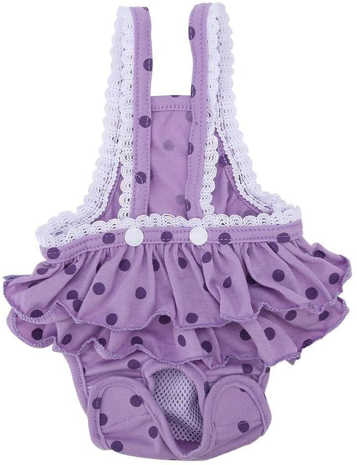 Conlense Cotton Breathable Sweet Dots Menstrual Sanitary Suspender Pants for Pet Dog Puppy(Purple, S)