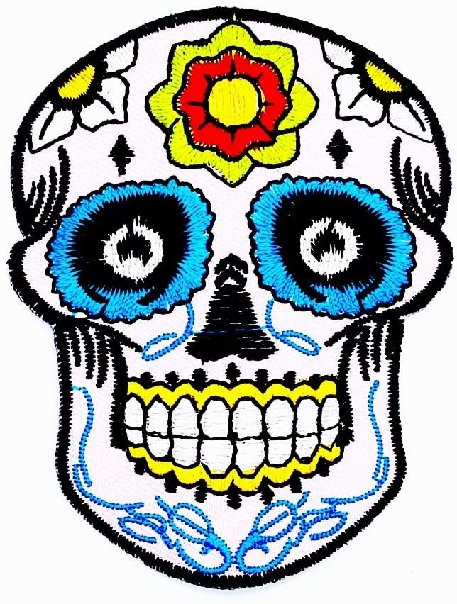 Flower Sugar Skull Awesome Cool Motorcycle Patch Ideal for adorning Your Jeans, Hats, Bags, Jackets and Shirts.