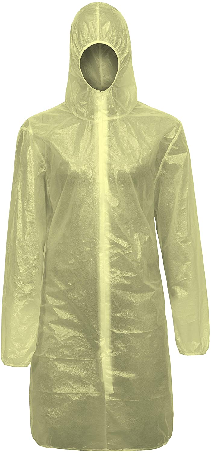 Clymedical Disposable Lab Gown Hooded Protective Isolation Hazmat Suit 2XL Yellow