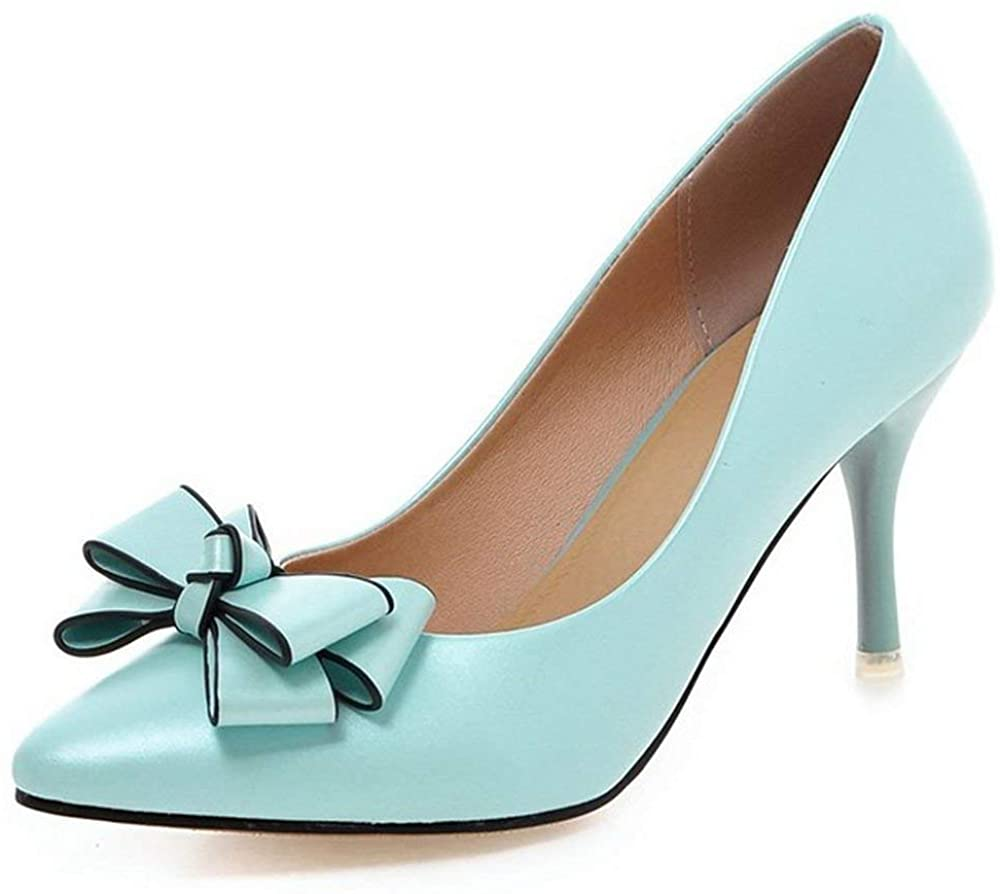 COOLCEPT Women Fashion Kitten Heels Pumps Pointed Toe Sweet Dress Thin High Heel Shoes with Bow