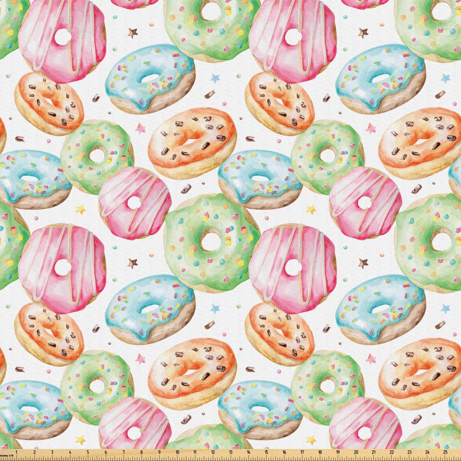 Ambesonne Watercolor Fabric by The Yard, Delicious Donuts Pattern with Various Flavors Sprinkles Stars Background, Microfiber Fabric for Arts and Crafts Textiles & Decor, 2 Yards, Multicolor