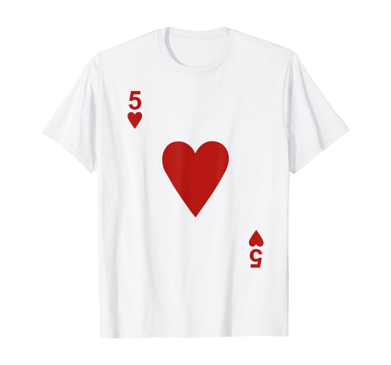 Five of hearts Tshirt Blackjack Cards Poker 21 5 Tee shirt