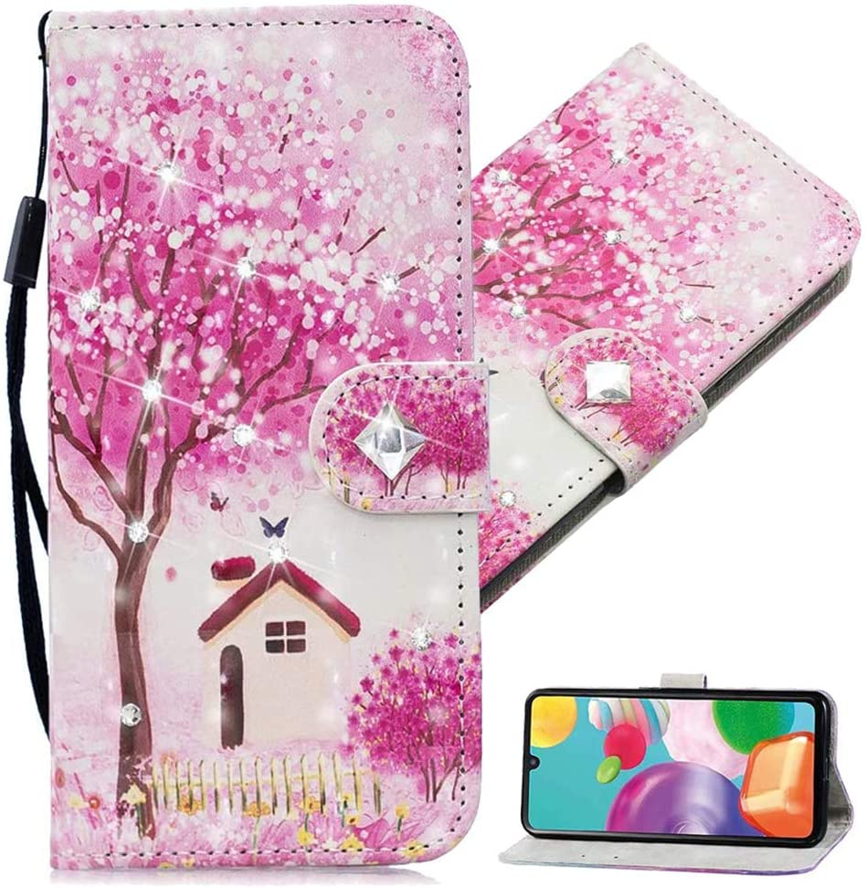MEIKONST Galaxy S8 Plus Case, 3D Creative Fashion Glitter Diamond Crystal PU Leather Flip Wallet for Gril with Cards Slot Stand Protective Cover for Samsung Galaxy S8 Plus, CY Tree House