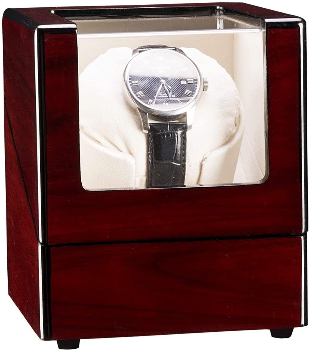IHADA Single Watch Winder Automatic Rotation Wood Display Case Storage OrganizerSandalwood Red(Appearance) White(Internal Modern Watch Box, Watch Case Organizer for Storage and Display