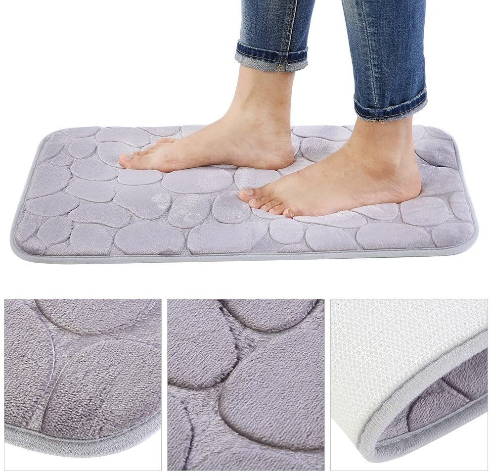 Qioni Bathroom Mat, Soft, Comfortable Grey Non-Slip Floor Mat, Kitchen Rug, Kitchen Mat for Bathroom Bath Mat Bedroom