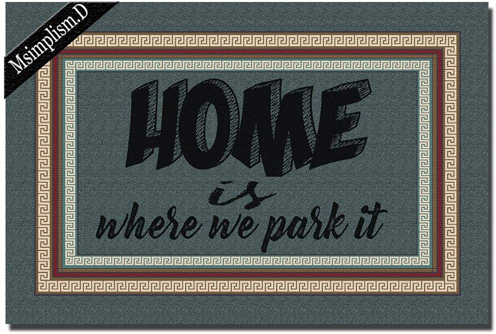 Msimplism.D Funny Doormat for Indoor Outdoor -Home is Where We Park It 2 Entrance Floor Mat Funny Doormat Machine Washable Rug Non Slip Mats Bathroom Kitchen Decor Area Rug 23.6 in(L) by 15.7 in(W)