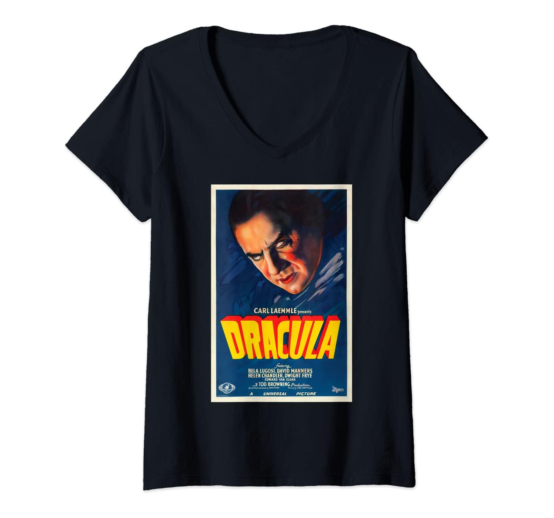 Womens Classic Halloween Monster Horror Movie Dracula V-Neck T-Shirt