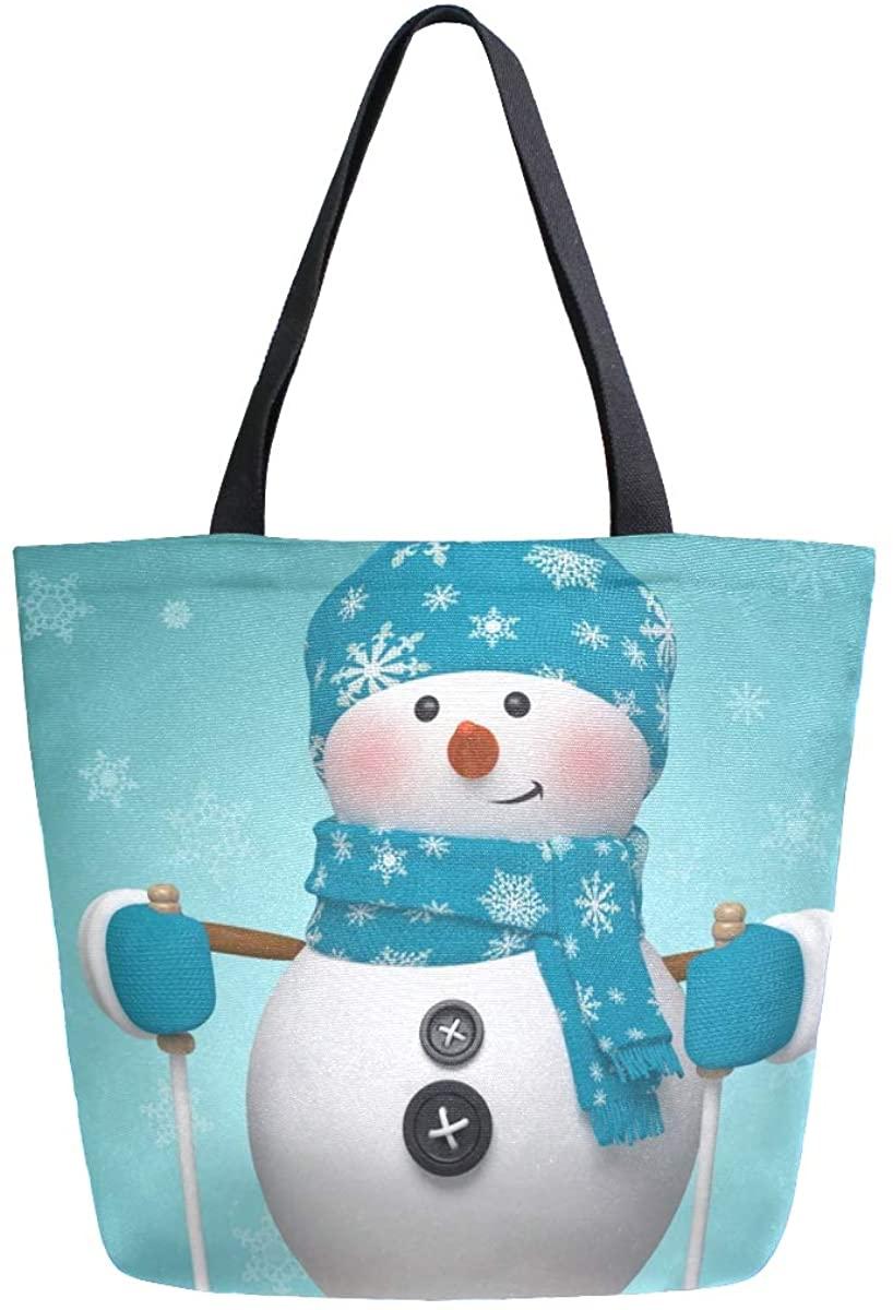 Woman Tote Bag Shoulder Blue Snowman Handbag for Work Travel Business Beach Shopping School