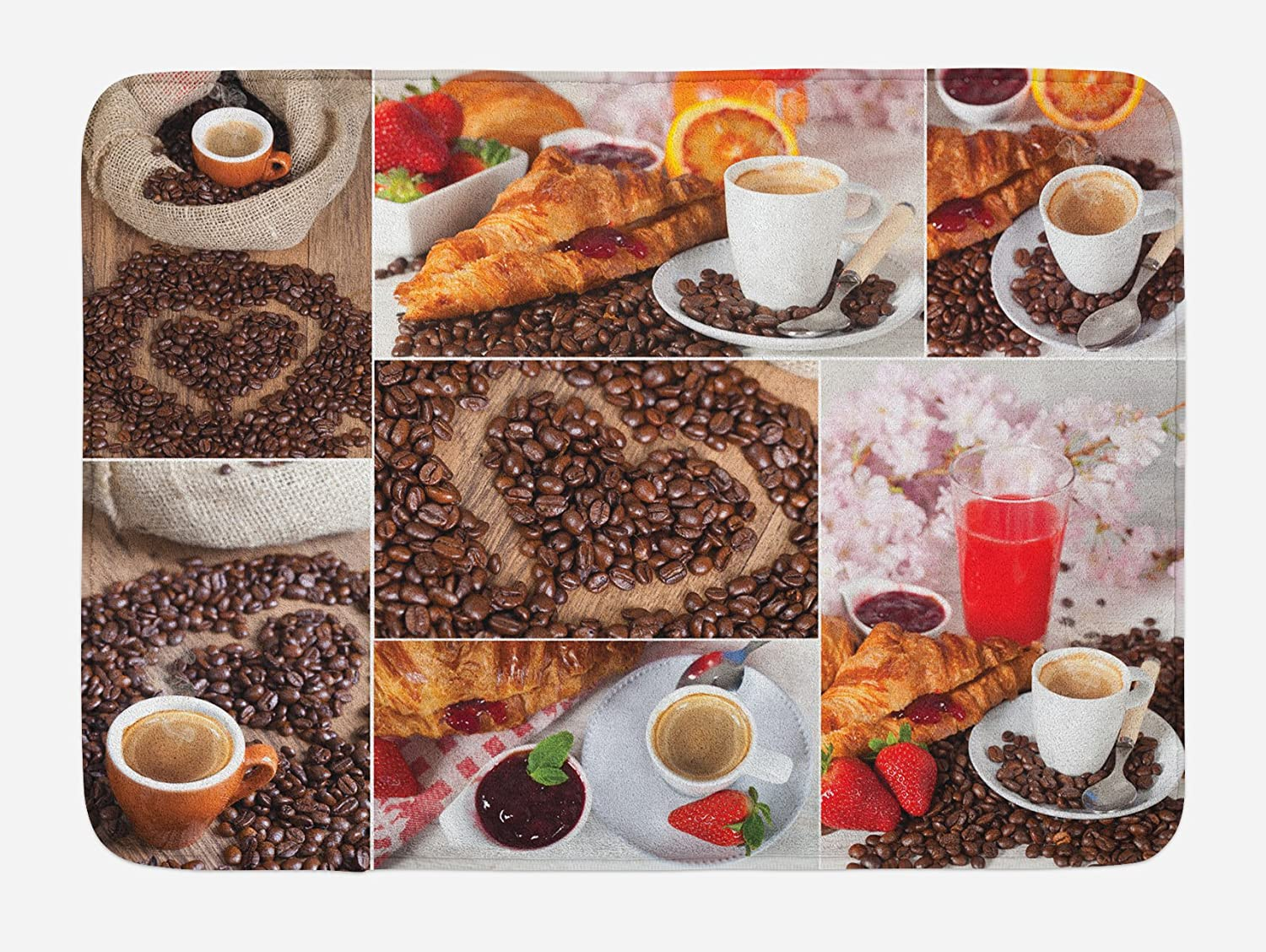 Ambesonne Coffee Bath Mat, Collage of Different Photos Breakfast Theme Croissant Coffee Beans and Strawberries, Plush Bathroom Decor Mat with Non Slip Backing, 29.5
