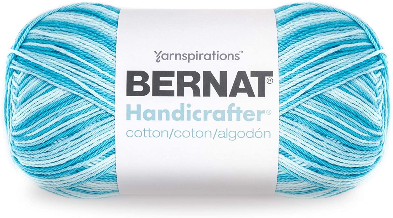 Bernat Handicrafter Cotton Yarn, Gauge 4 Medium Worsted, Swimming Pool