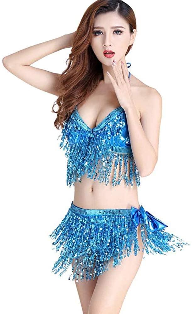 Belly Dance Skirt Bra Set, Sweet Belly Dance Hip Scarf Bra Top Performance Sequins Tassel, Belly Dancer Costumes for Women