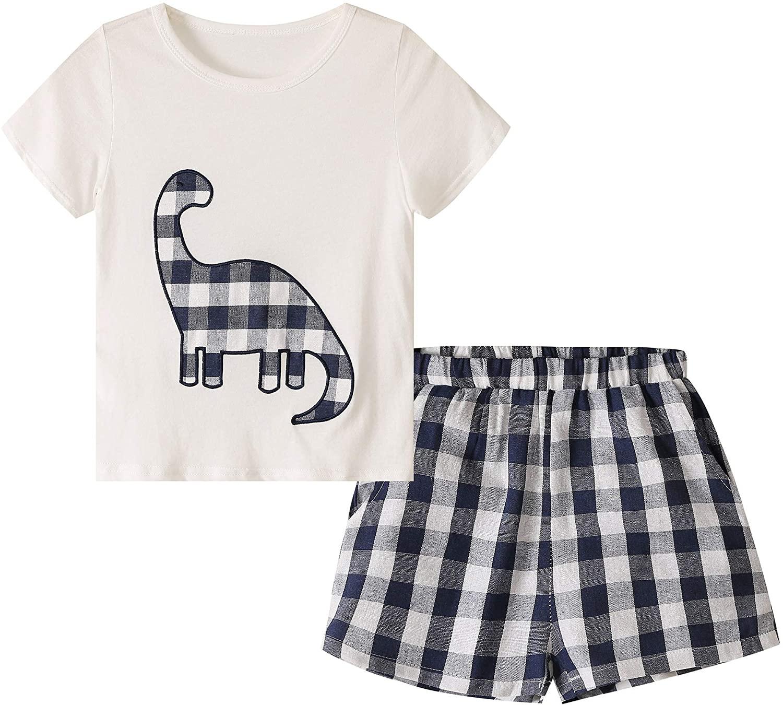 Toddler Kid Boy Dinosaur Shorts Outfits Short Sleeve T-Shirt Top Shorts Casual Wear Clothes Set