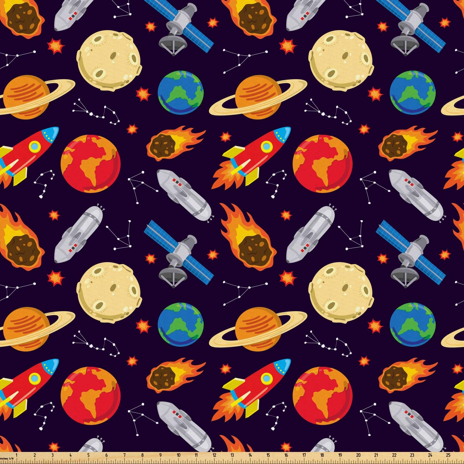 Ambesonne Space Fabric by The Yard, Universe Themed Illustration with Earth Moon Constellations Saturn Rockets Stars, Microfiber Fabric for Arts and Crafts Textiles & Decor, 3 Yards, Multicolor