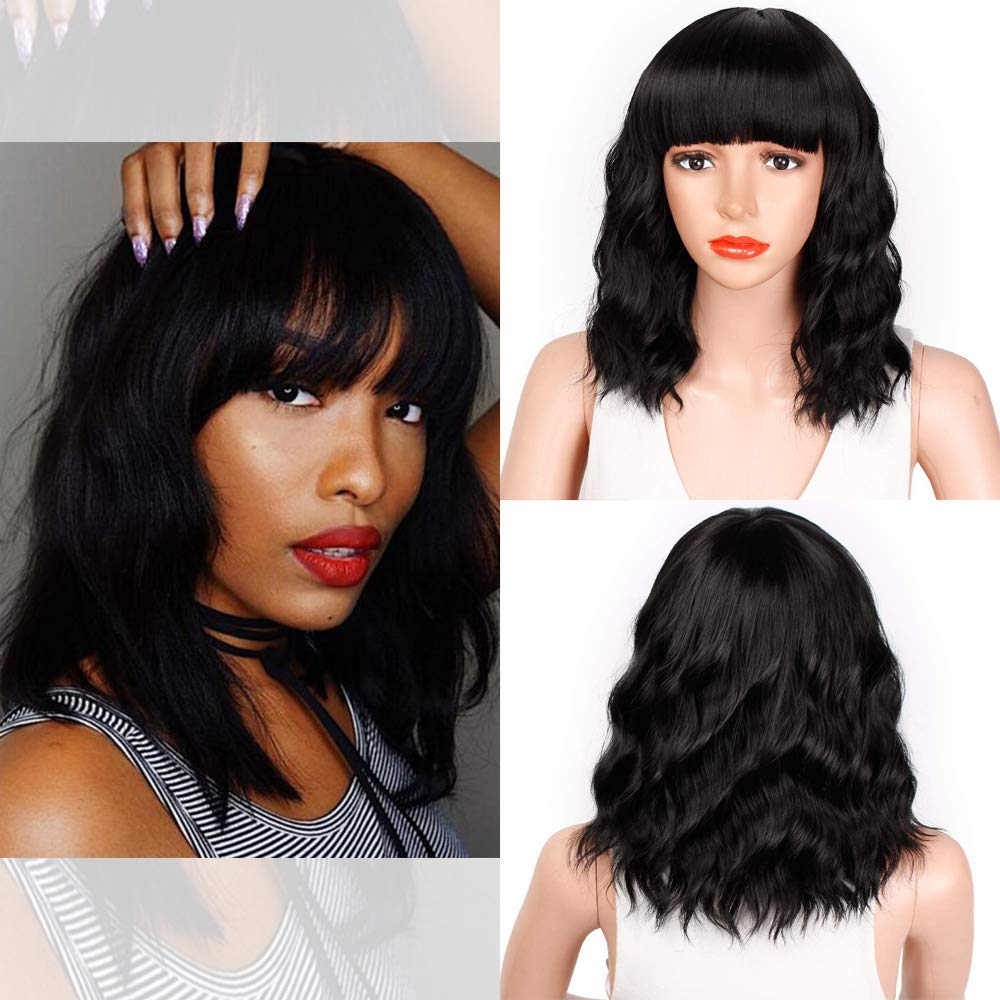 Bob Curly Wig Synthetic Short Black Wig with Bangs Natural Looking Heat Resistant Fiber Hair for Women (14 Inch curly bob, black)