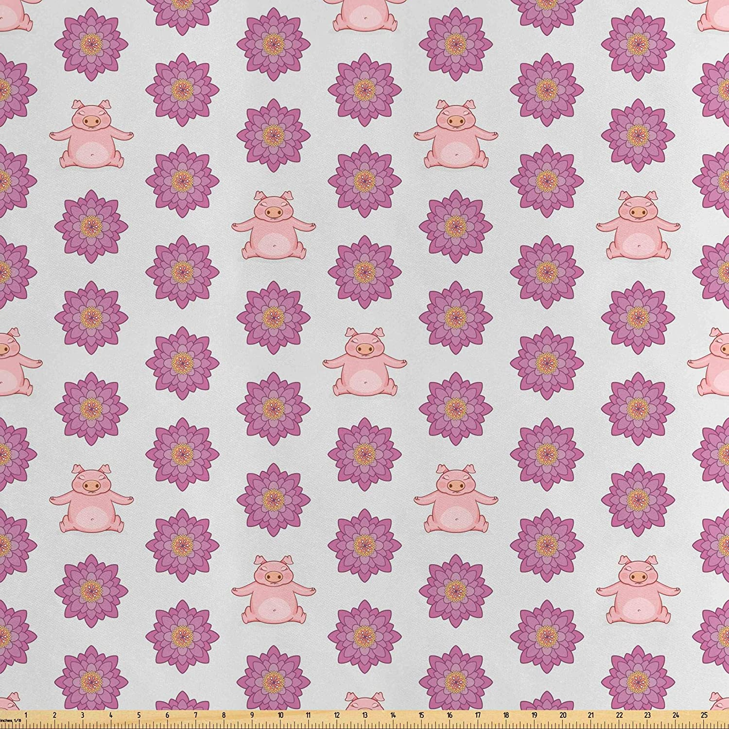 Lunarable Pig Fabric by The Yard, Pig Doing Yoga Meditating with Colorful Lotus Flowers Print, Decorative Satin Fabric for Home Textiles and Crafts, 5 Yards, Baby Blue Baby Pink Purple