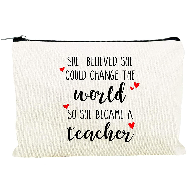 Best Teacher Gift Teacher Appreciation Gifts Teacher Supplies for Classroom Funny Canvas Makeup Bags Cosmetic Bag for Women