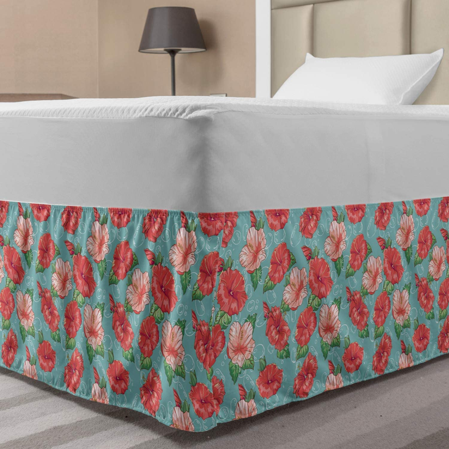 Ambesonne Hibiscus Bed Skirt, Pattern of Tropic Flowers and Bubbles Graphic, Elastic Bedskirt Dust Ruffle Wrap Around for Bedding Decor, Full, Teal Coral