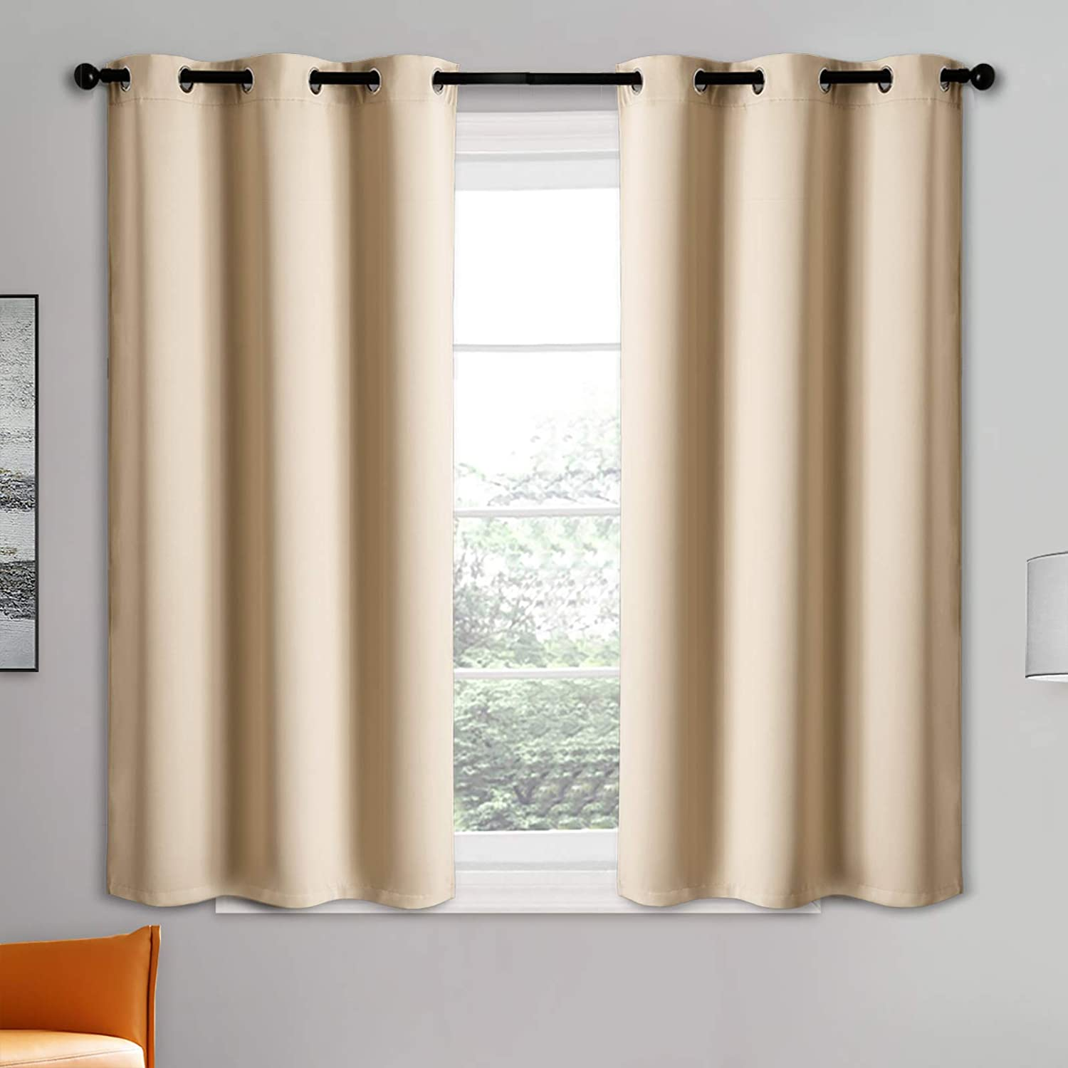 Blackout Curtain Panels - Grommets Blackout Thermal Insulated Curtains, Draperies for Bedroom、Living Room Windows(Biscotti Beige, 2 Panels, 34