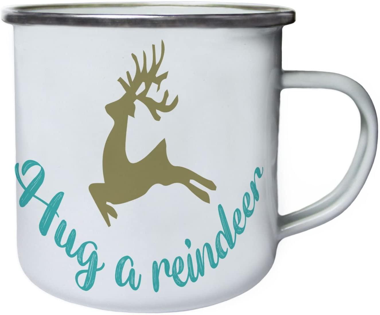 Hug A Reindeer Retro,Tin, Enamel 10oz Mug t962e