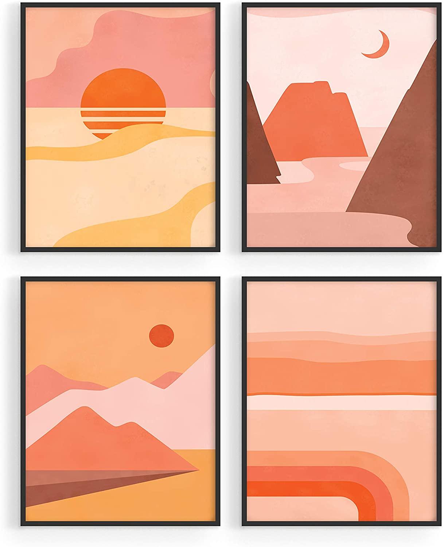 Desert Sunrise Poster Geometric Wall Art - by Haus&Hues | Set of 4 Abstract Wall Art Sunset Wall Decor | Mountain Wall Art Desert Wall Art Scandinavian Decor Abstract Poster | 8x10, unframed