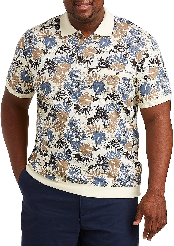 Harbor Bay by DXL Big and Tall Tropical Banded-Hem Polo Shirt, Khaki Multi