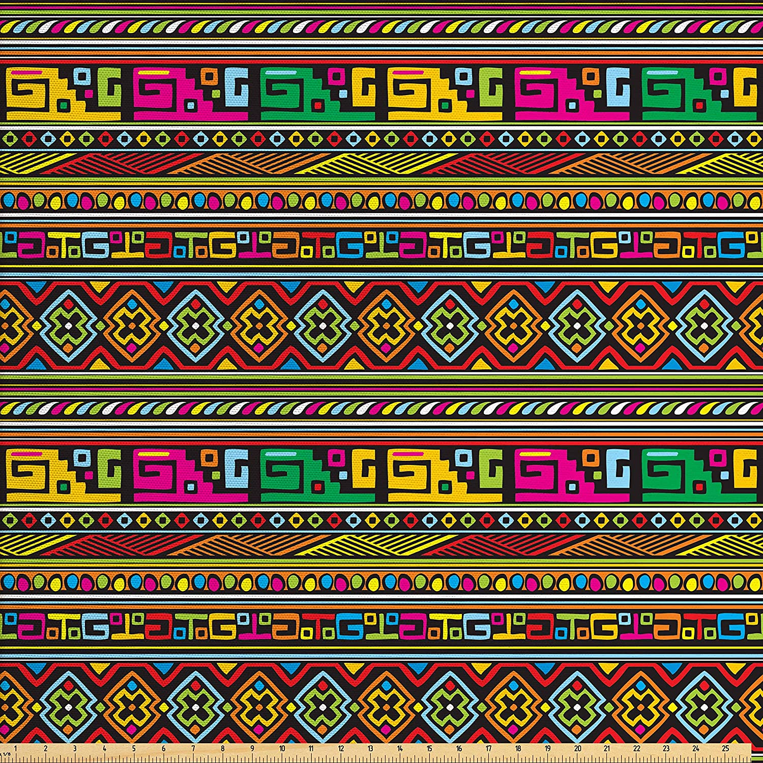 Ambesonne Tribal Fabric by The Yard, Design with Colorful Geometrical Details Borders Vector Themed Print, Decorative Fabric for Upholstery and Home Accents, Multicolor