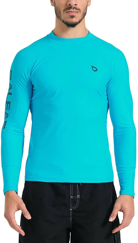 BALEAF Men's Basic Long Sleeve Rashguard UV Sun Protection Athletic Swim Shirt UPF 50+