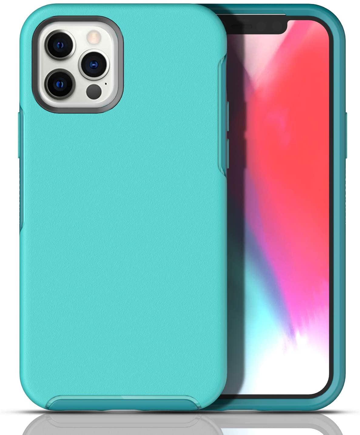 Laiture Symmetry Series Compatible with iPhone 12 Pro Max Case/Compatible with iPhone 12 Pro Max Case (2020), Rugged Shockproof Soft TPU Protective 6.7 Inch (iPhone 12 Pro Max, Aqua)