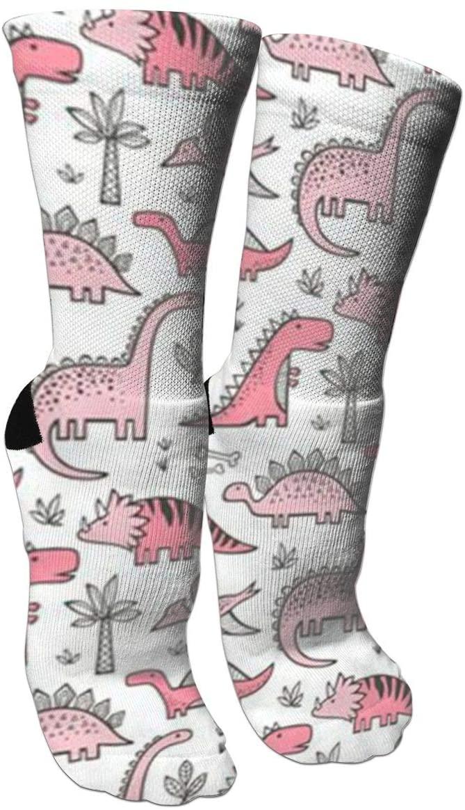 ~ Socks Pink Dinosaur Training Socks Crew Athletic Socks Long Sport Soccer Socks Soft for Men Women