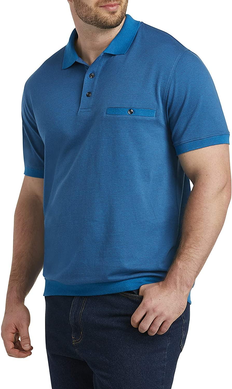 Harbor Bay by DXL Big and Tall Jacquard Banded-Hem Polo Shirt, Blue