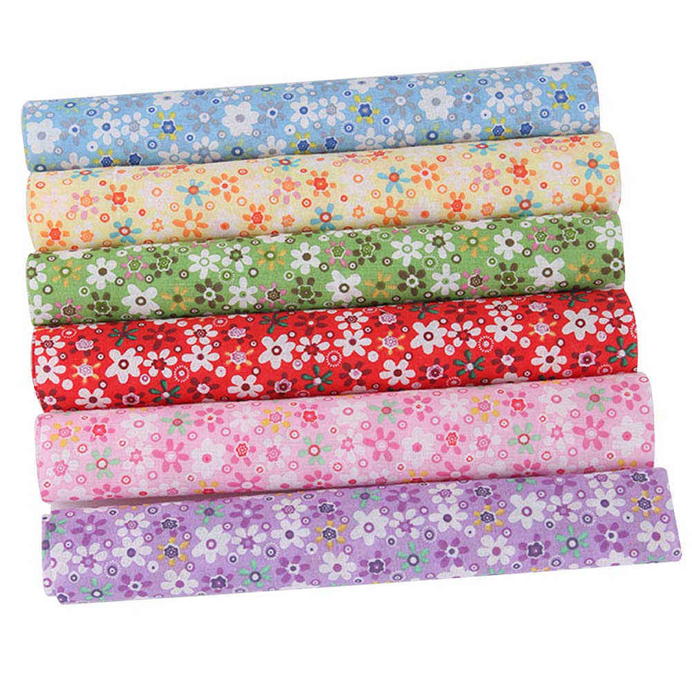 Zcargel Patchwork Fabric Squares, 7pcs DIY Patchwork Cloth Colorful Flower Cotton Sheet for Sewing Scrapbooking Quilting Doll Cloth Craft Handmade 25 x 25CM