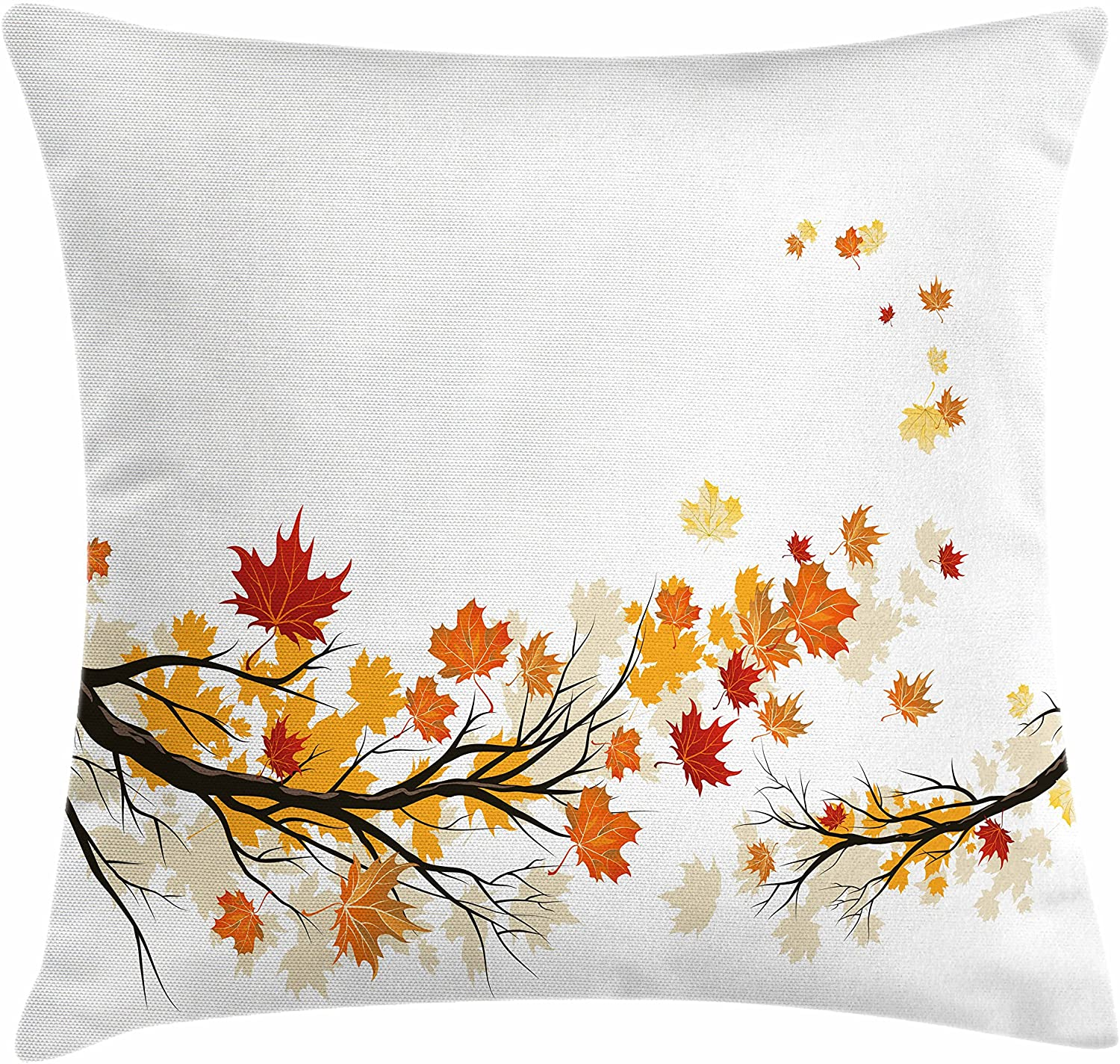 Ambesonne Fall Throw Pillow Cushion Cover, Swirling Bended Fall Tree Branches with Colored Leaves Pastoral Season Theme, Decorative Square Accent Pillow Case, 16