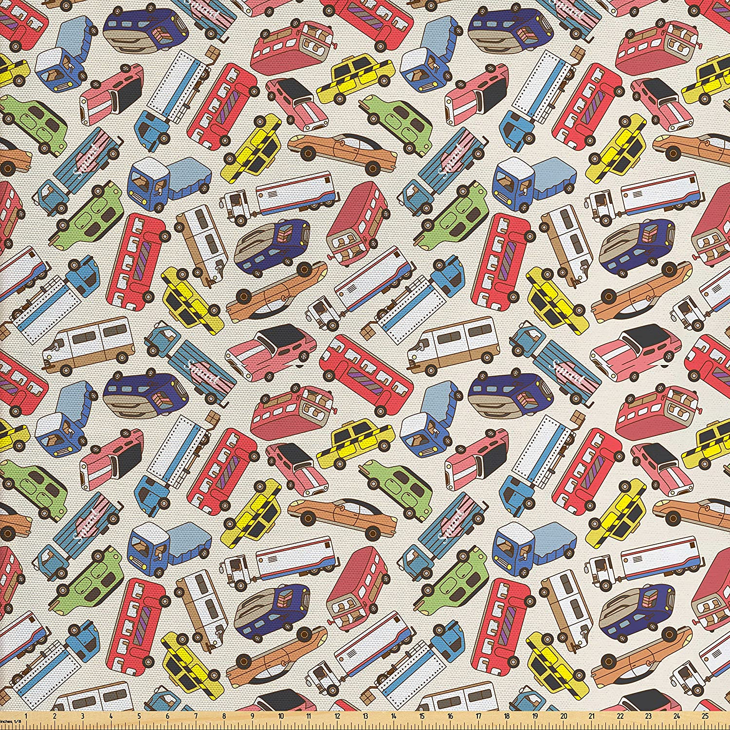 Ambesonne Cars Fabric by The Yard, Transport and Logistics Theme with Lorry Cargo Truck Muscle Car and Taxi Boy Toys, Decorative Fabric for Upholstery and Home Accents, Multicolor