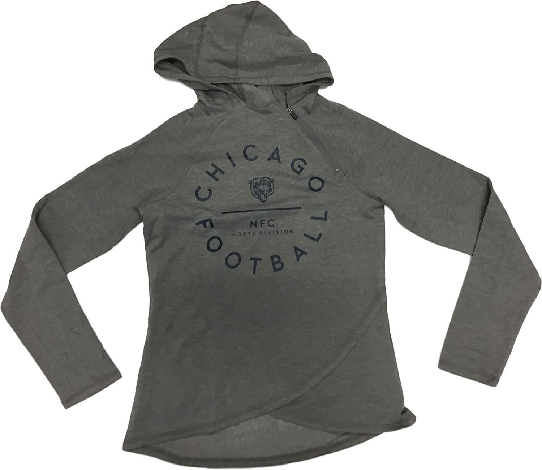 NFL Team Apparel Chicago Bears Women's Gray Pullover 1/4 Zip Hoodie