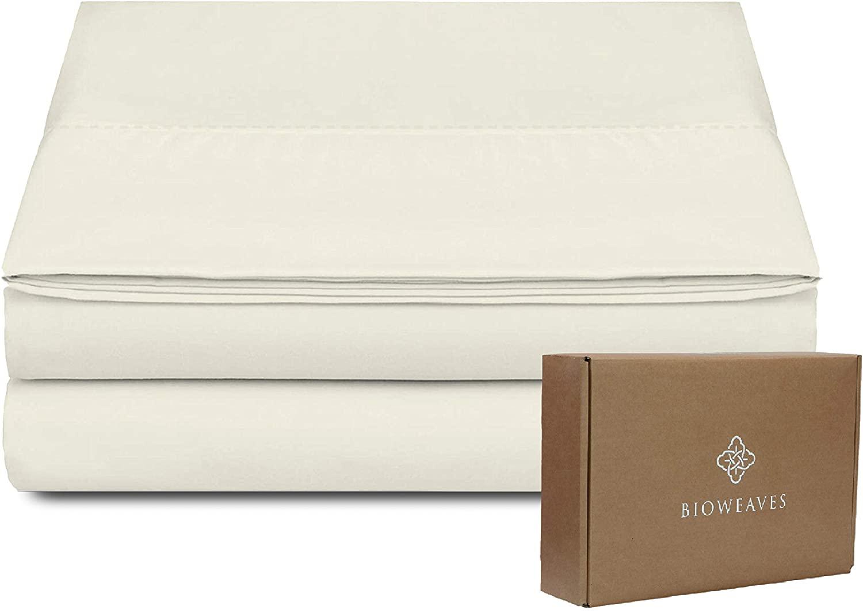 BIOWEAVES 100% Organic Cotton 1 Flat Sheet Only, 300 Thread Count Soft Sateen Weave GOTS Certified Top Sheet (King, Natural)