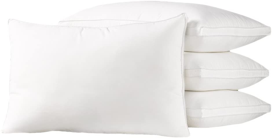 Down Supply OVERSTUFFED MED/Firm Luxury Down-Alternative Pillows 4-Pack Standard Size Gel-Fiber Filled Hypoallergenic, Super-Soft Brushed Microfiber Gusseted Shell - Best for Side & Back Sleepers