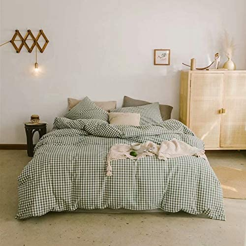Mikado Simple Style Chechered Four-Piece Bedding 100% Cotton Washed Cotton Duvet Cover(Quilt + Bed Sheet/Deep Pocket+2 Pillowcases(Green&White-Bed Sheet-King)