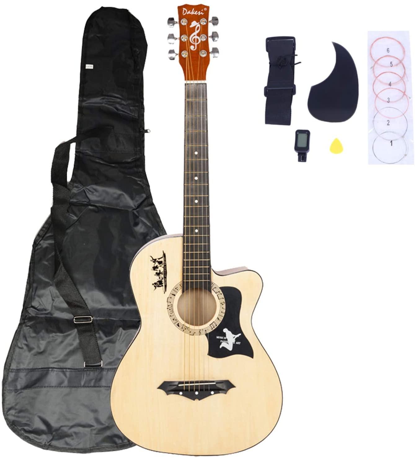 DK-38C Basswood Guitar Bag, Straps, Picks, LCD Tuner, Pickguard, String Set Wood Color - Beginner Guitar Starter Student Guitar
