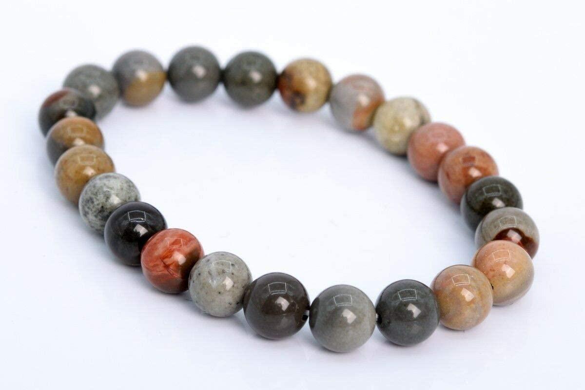 (Approx. 23 Beads / 7 Strand) 8MM Ocean Jasper Bracelet Grade AAA Genuine Natural Round Gemstone Beads