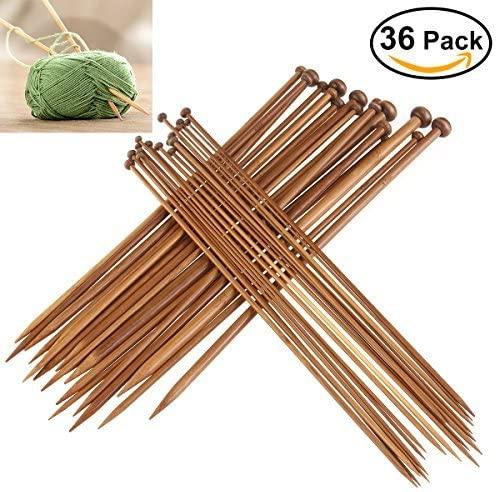 FOXNOVO Bamboo Knitting Needles Set,18pairs(2.0mm-10mm)