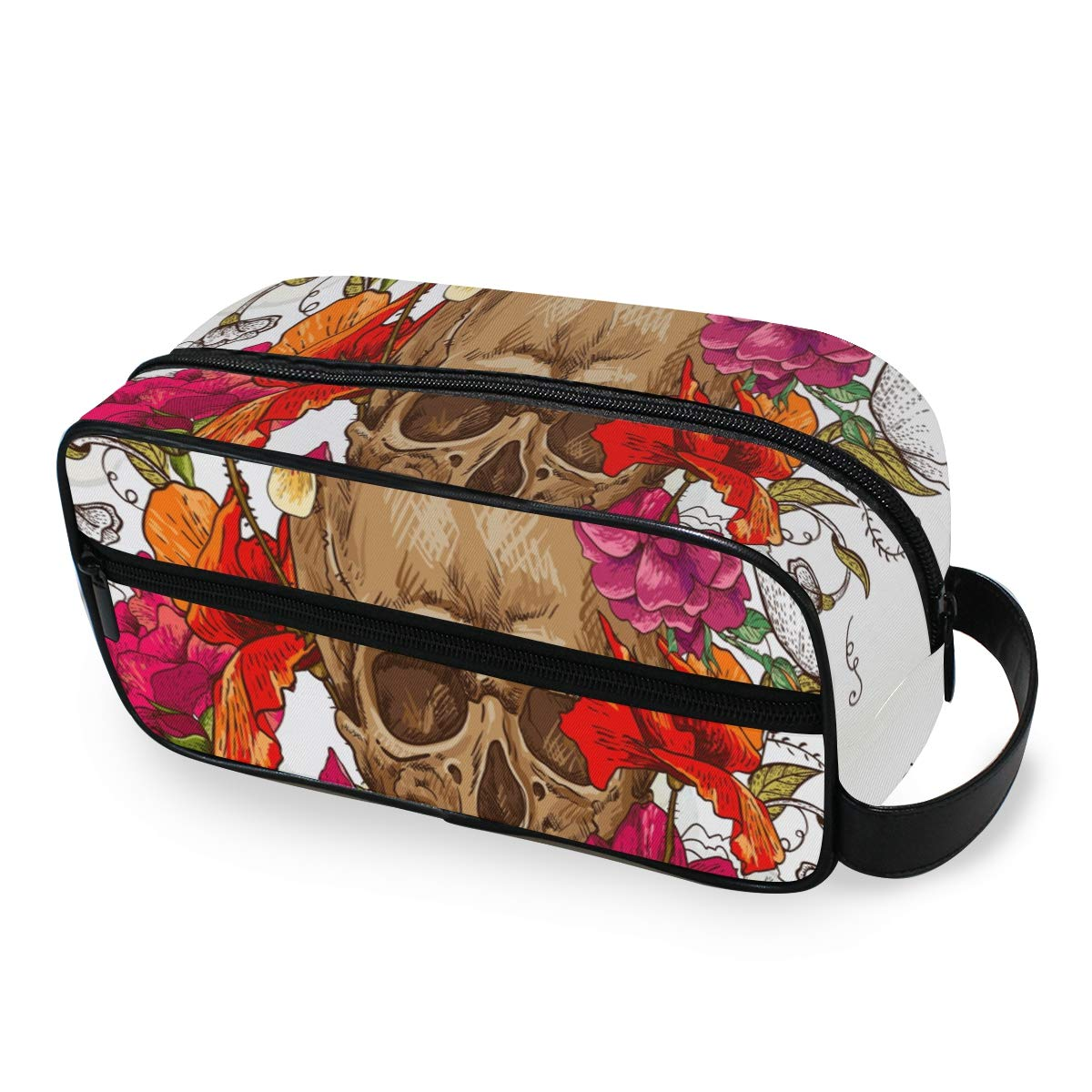 Cosmetic Bag Makeup Case Watercolor Flora Skull Portable Toiletry Bag Organizer Accessories Case Tools Case for Trave