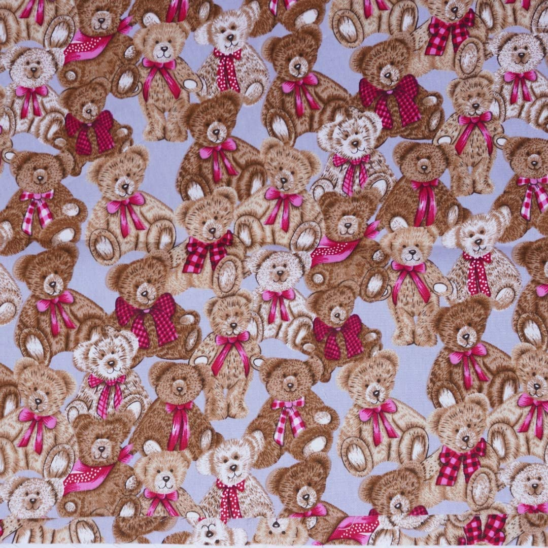 Chaya 44 Inch Cute Animals Bear Different Pattern Printed 100% Cotton Fabric for Patchwork Needlework DIY Handmade Sewing Crafting for 1 Yard. (Blue)