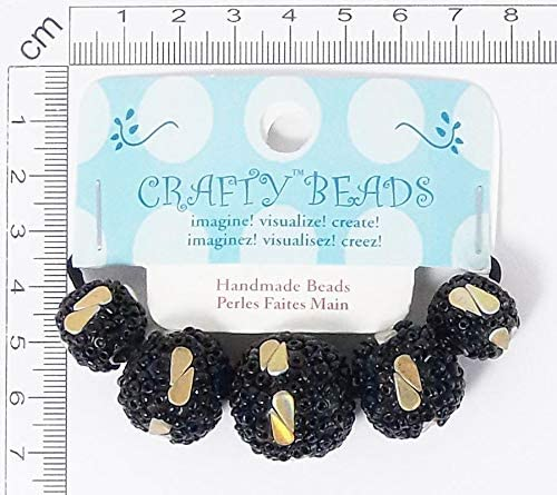 48 Packs Value Natural Resin with Glass Seed Beads Handmade Round Shape w/Iridescent Drops Design - Black/Gold
