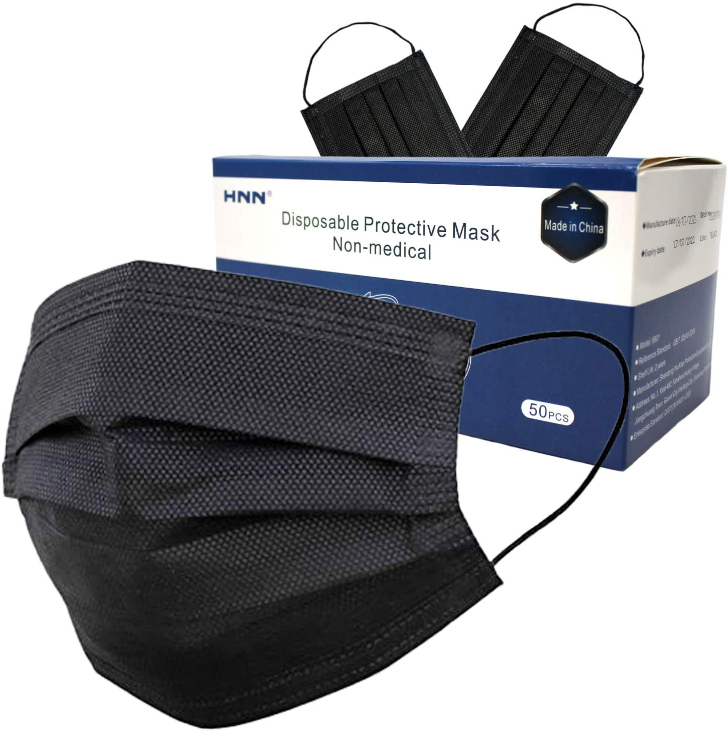 50/100/150 PC - Adult Skin-Friendly Disposable Protective Face Masks, Single-Use Indoor & Outdoor, Office, School (50 PC, Black)
