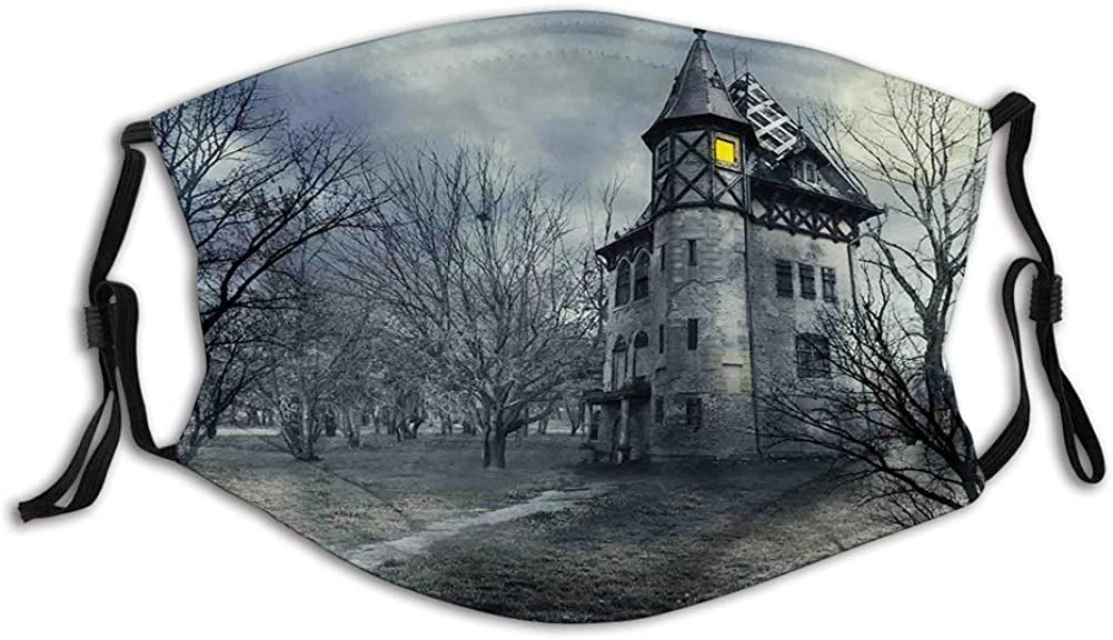 Face Mask Reusable Washable Masks Cloth for Men and WomenHalloween Design with Gothic Haunted House Dark Sky and Leaf