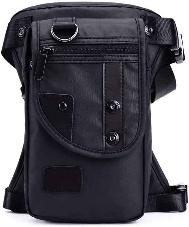 QINREN Men Waterproof Oxford Waist Leg Bag Drop Travel Motorcycle Tactical Chest Pouch,Black,Oxford Cloth