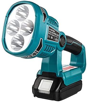 Search Light flashlight BL1860 For Makita outdoor LED long-range light for Makita battery pack 14.4V-20V for Makita 18V lithium battery BL1415 BL1420 BL1815 BL1830 (12W Portable)
