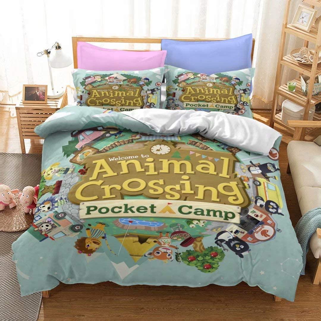 Yumhi Animal Crossing Bedding Full Size Duvet Cover Sets for Kids Super Soft Colorful Bed Set(1 Duvet Cover 2 Pillowcases),No Comforter