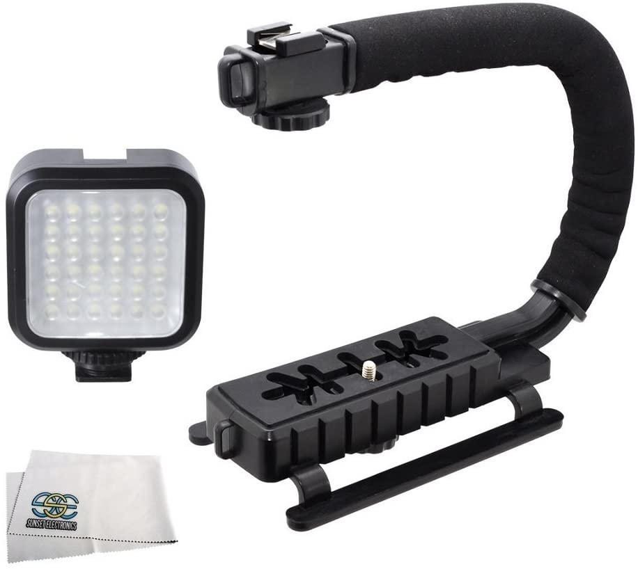 Professional LED Video Light & Stabilizing Grip Package for JVC Everio GZ-HD500, GZ-HD510, GZ-HD520, GZ-HD620, GZ-HM30, GZ-HM300, Everio GZ-HM320, Everio GZ-HM330, GZ-HM334, GZ-HM335, GZ-HM340, GZ-HM350, GZ-HM430, GZ-HM435, GZ-HM440, GZ-HM445, GZ-HM450 Camcorders
